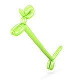 Зеленая собака воздушного шара на своих задних ногах 3d представляют цилиндры image иллюстрация вектора
