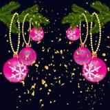 Зеленая сочная ветвь спруса, при 2 стороны украшенной с confetti золота Елевые ветви с красными шариками На a иллюстрация штока