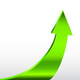 Зеленая стрелка и нейтральная белая предпосылка Стоковая Фотография RF