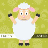Зеленая счастливая карточка пасхи с овечкой Стоковые Фото
