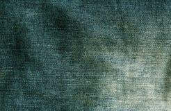Зеленая текстура ткани джинсов Стоковая Фотография