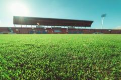 Зеленая трава в футбольном стадионе, годе сбора винограда Стоковые Изображения RF