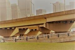 Зеленая трава, мост, и горизонт города Стоковое Изображение