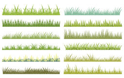 Зеленая трава с текстурой на белизне Иллюстрация вектора