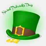 Зеленая шляпа дня ` s St. Patrick с монетками Предпосылка на день ` s St. Patrick в стиле шаржа Стоковая Фотография