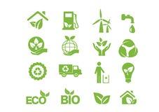 Зеленая энергия, комплект значка Стоковое Изображение