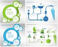 Зеленая энергия, собрание графиков данным по экологичности Стоковые Изображения