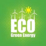 Зеленая энергия с ветротурбинами Стоковая Фотография
