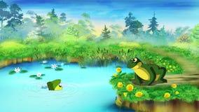 Зеленая лягушка около пруда видеоматериал