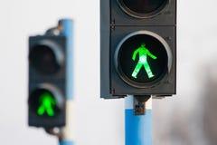 2 зеленого света для пешеходов Стоковая Фотография