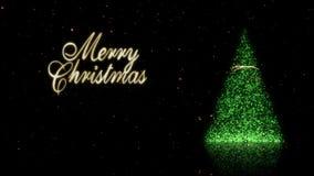 Зеленое дерево искры с петлей 4K снега золота с Рождеством Христовым бесплатная иллюстрация