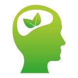 Зеленое изображение значка листьев мозга бесплатная иллюстрация