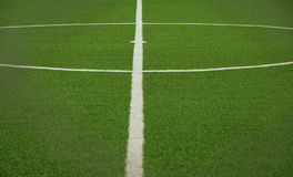 Зеленое искусственное футбольное поле травы Стоковые Фото
