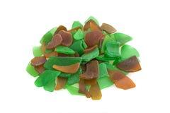 Зеленое и коричневое стекло моря изолировано Стоковая Фотография RF