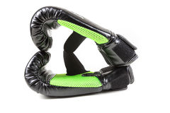 Зеленое и черное сердце перчатки бокса Стоковое Изображение RF