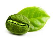 Зеленое кофейное зерно с лист стоковое фото