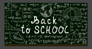 Зеленое классн классный школы вектора с чертежами мела физическими и математически, формулами, уровнениями и рукописным текстом Стоковое Изображение