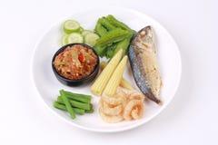Зеленое погружение chili как Nam Prik Num с комплектом Стоковое Фото