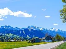 Зеленое поле с ясным голубым небом в Германии - Австрии Стоковое фото RF
