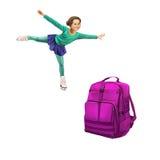 Зеленое положение рюкзака, красивая маленькая девочка Стоковая Фотография