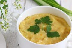 Зеленое пюре супа овощей стоковые изображения rf