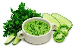 Зеленое пюре супа свежих овощей изолировано Стоковая Фотография