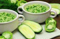 Зеленое пюре супа свежих овощей Стоковое Изображение RF