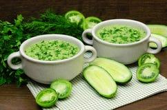 Зеленое пюре супа свежих овощей Стоковые Фотографии RF
