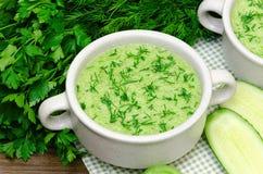 Зеленое пюре супа свежих овощей Стоковые Фото