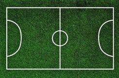 Зеленое футбольное поле с линиями Стоковое Фото