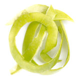 Зеленое шелушение Яблока с белизной, концом вверх по съемке Стоковое фото RF