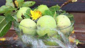 Зеленое яблоко с брызгает воды в природе, замедленном движении сток-видео