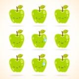 Зеленое яблоко с много выражений иллюстрация штока