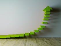 зеленое arow 3D на белой стене указывая вверх иллюстрация вектора