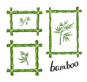 Зеленые бамбуковые рамки также вектор иллюстрации притяжки corel Стоковое Изображение