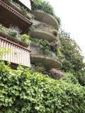 Зеленые балконы жилого квартала в Риме Стоковое Изображение RF