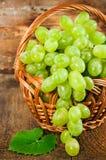 Зеленые виноградины в конце-вверх корзины wicker Стоковое Изображение