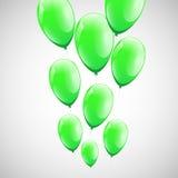 Зеленые воздушные шары с белой предпосылкой Стоковая Фотография