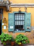 Зеленые горшечные растения вне старого кафа штукатурки, Греции Стоковые Изображения