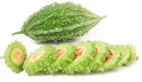 Зеленые горькие дыня или momordica изолированные на белой предпосылке Стоковое фото RF