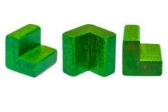 Зеленые деревянные формы Стоковая Фотография