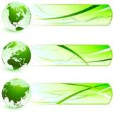 Зеленые значки природы с знаменами Стоковое Изображение RF