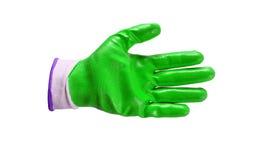 Зеленые изолированные перчатки работы Стоковая Фотография
