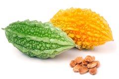 Зеленые и желтые горькие дыня или momordica изолированные на белой предпосылке Стоковые Фотографии RF