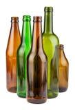 Зеленые и коричневые пустые бутылки Стоковое фото RF