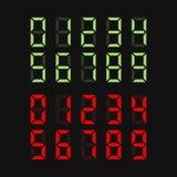 Зеленые и красные установленные номера цифров вектор иллюстрация штока