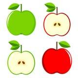 Зеленые и красные установленные яблоки Стоковое Изображение