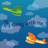 Зеленые и оранжевые самолеты моря летая в облака иллюстрация вектора