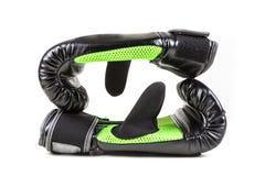 Зеленые и черные перчатки бокса Стоковые Изображения RF