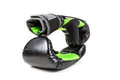 Зеленые и черные перчатки бокса Стоковые Изображения